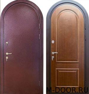 Стальная арочная дверь порошковое напыление и МДФ
