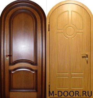 Стальная арочная дверь с отделкой МДФ 3