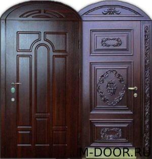 Металлическая арочная дверь с отделкой массив 1
