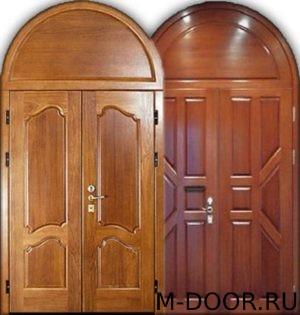 Металлическая арочная дверь массив с двух сторон 5