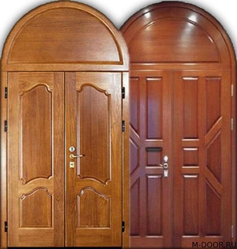 Металлическая арочная дверь массив с двух сторон