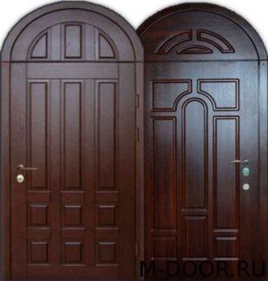 Стальная арочная дверь массив с двух сторон 4
