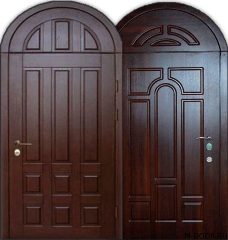 Стальная арочная дверь массив с двух сторон