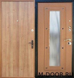 Металлическая дверь ламинат и МДФ с зеркалом 1