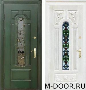 dver-massiv-s-kovkoj-i-steklom