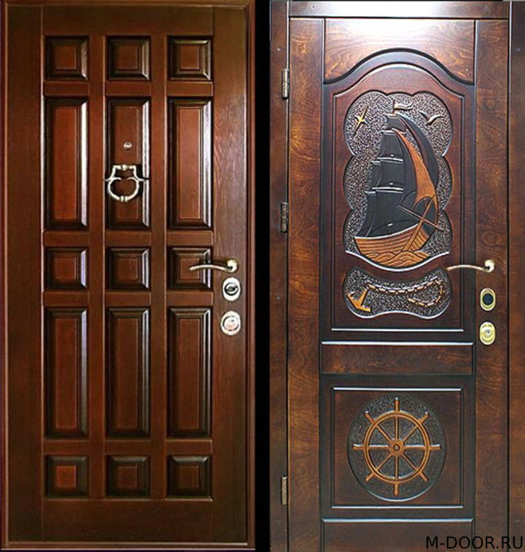 Железная дверь с отделкой массив