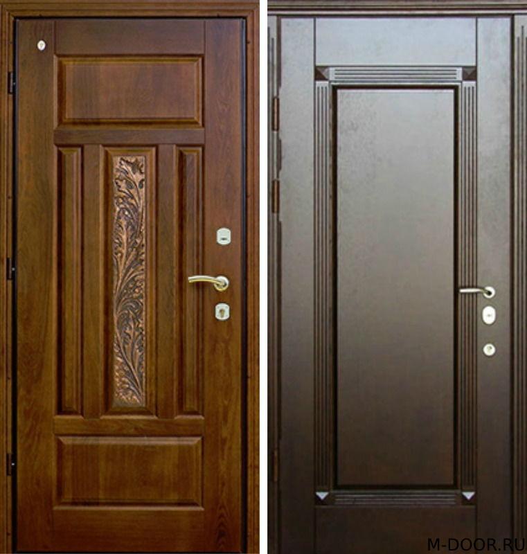 Железная дверь с отделкой массив с двух сторон