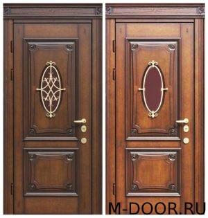 Металлическая дверь массив с ковкой и стеклом