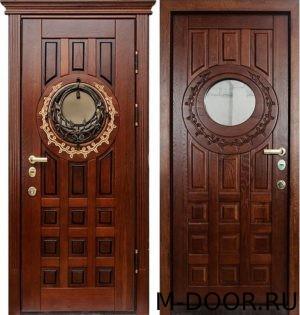 Стальная дверь массив с ковкой и стеклом 2