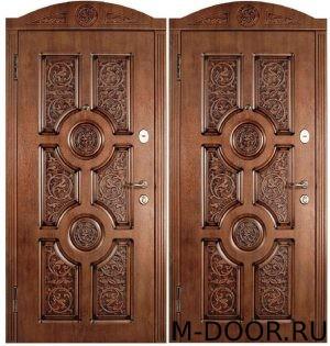Металлическая дверь массив с резьбой 5