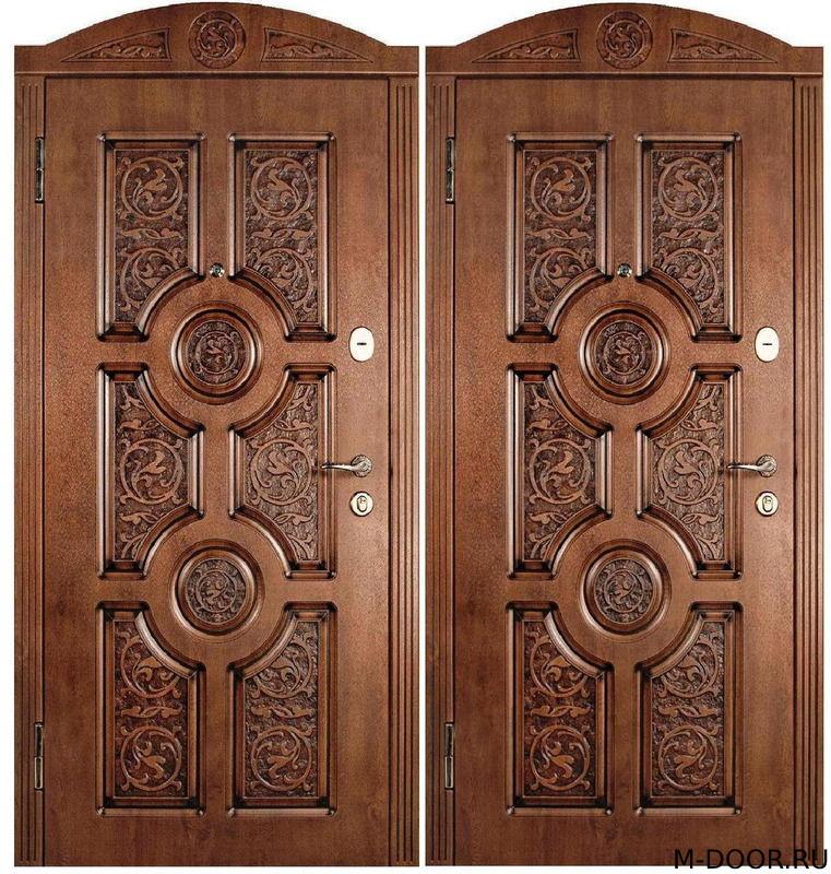 Металлическая дверь массив с резьбой