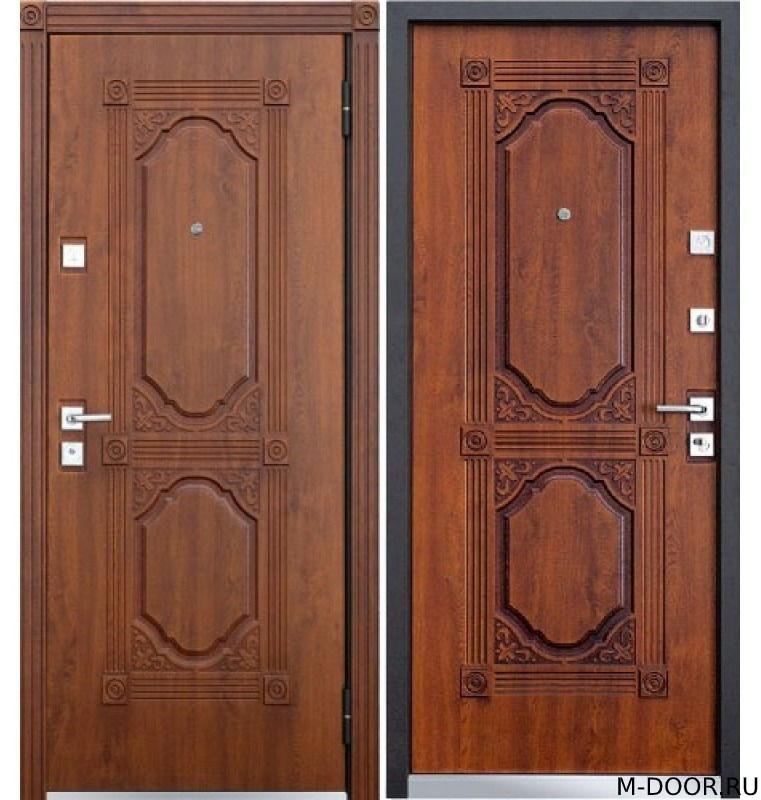 Стальная дверь с отделкой массив с двух сторон