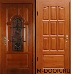 Металлическая дверь массив с ковкой