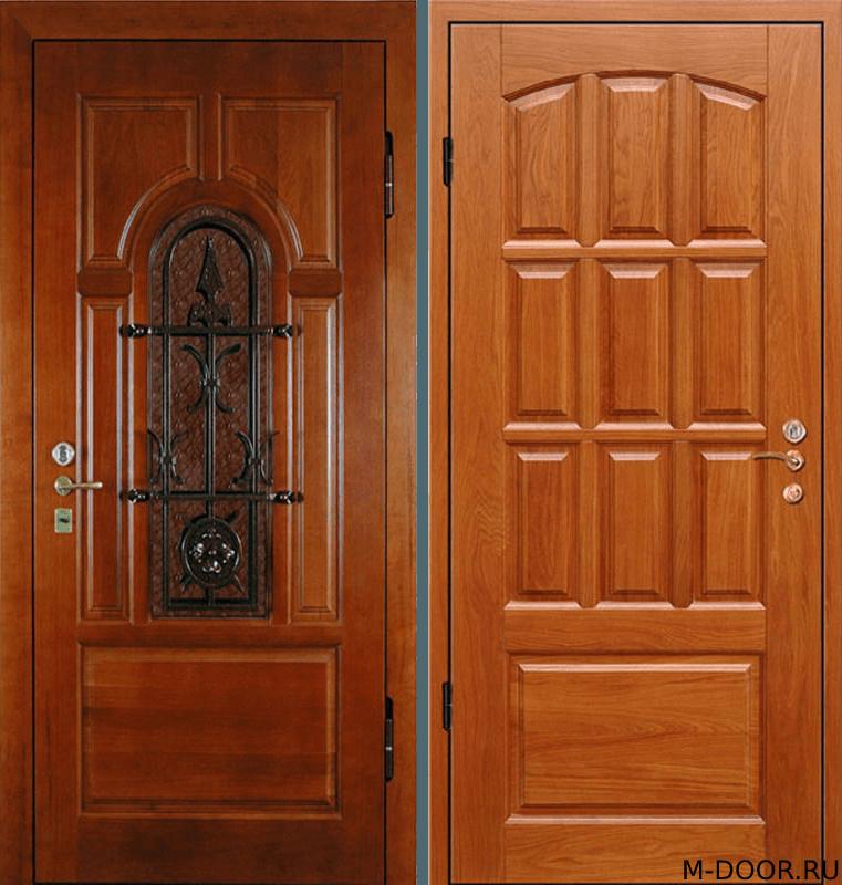 Парадная металлическая дверь массив с ковкой