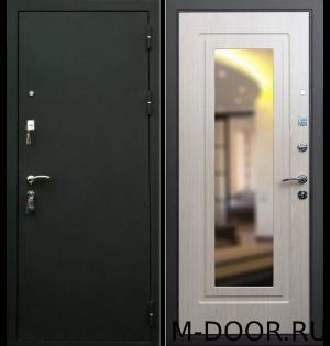 Стальная дверь порошковое напыление и МДФ с зеркалом