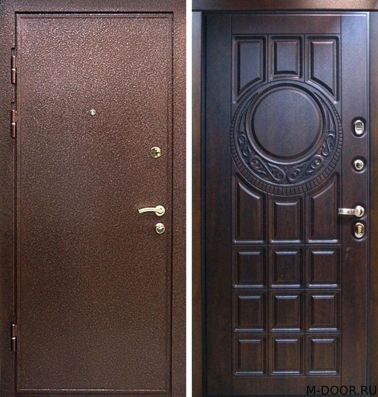 Наружная дверь порошковое напыление и филенчатая панель