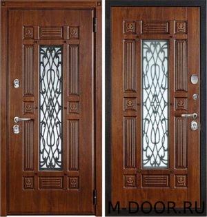 Стальная дверь филенчатая панель с ковкой и стеклом 3