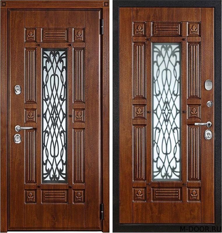 Стальная дверь филенчатая панель с ковкой и стеклом