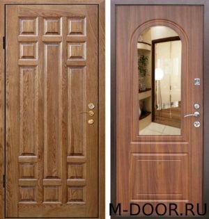 Стальная дверь филенчатая панель и МДФ(ПВХ) 10 мм с зеркалом 4