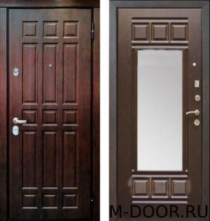 Стальная трехконтурная дверь МДФ с зеркалом 1