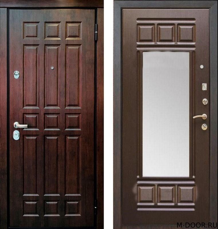 Стальная дверь филенчатая панель и МДФ с зеркалом