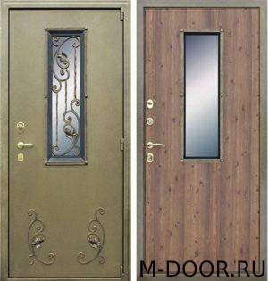 Стальная дверь порошковое напыление с ковкой и стеклом и ламинат
