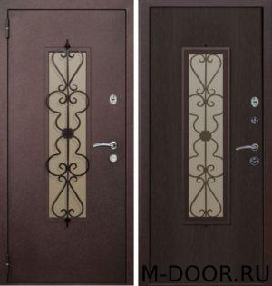 Металлическая дверь порошок с ковкой и стеклом и ламинат 2