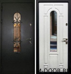 Стальная дверь порошковое напыление с ковкой и стеклом и МДФ 5