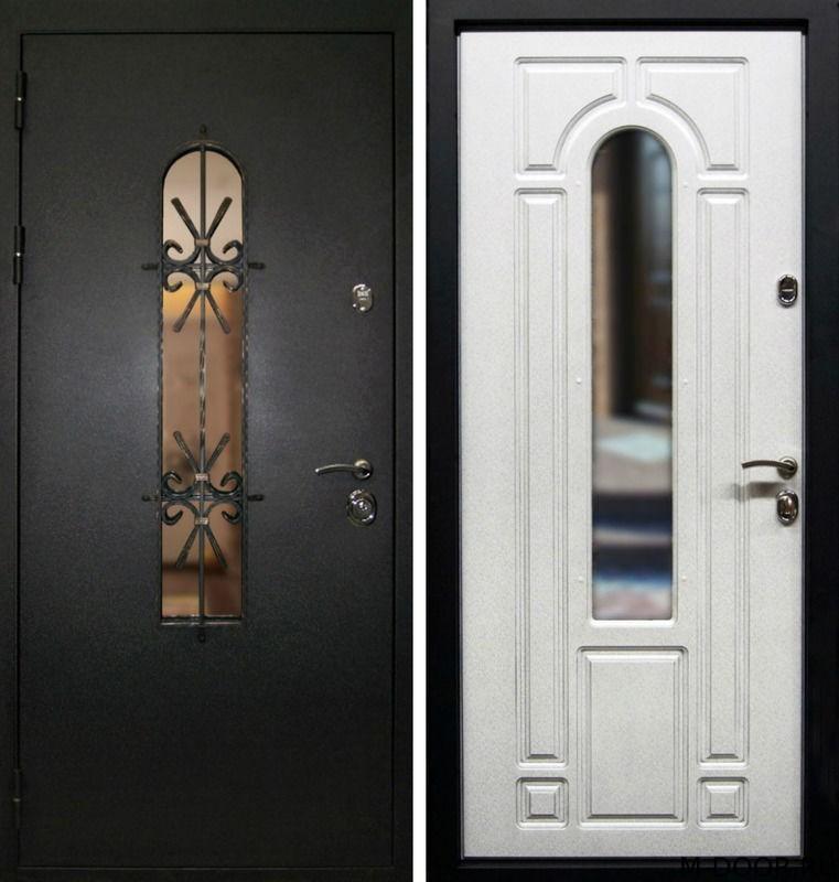 Стальная дверь порошковое напыление с ковкой и стеклом и МДФ