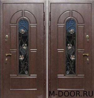 Металлическая дверь МДФ с ковкой и стеклом 2