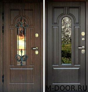 Стальная дверь МДФ с ковкой и стеклом