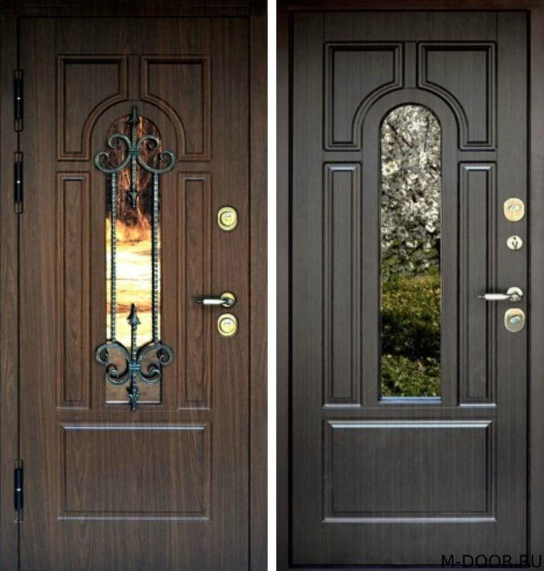 Стальная дверь МДФ (Vinorit) с ковкой и стеклом
