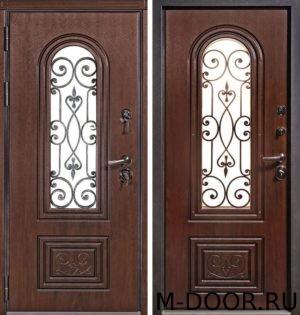 Металлическая дверь МДФ(ПВХ) с ковкой и стеклом