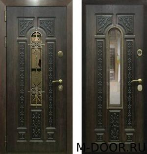 Металлическая дверь МДФ(ПВХ) 10 мм с ковкой и стеклом 1