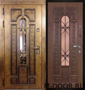 Стальная дверь МДФ(ПВХ) с ковкой и стеклом 1