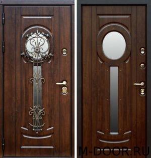 Металлическая дверь МДФ 10 мм с ковкой и стеклом 3