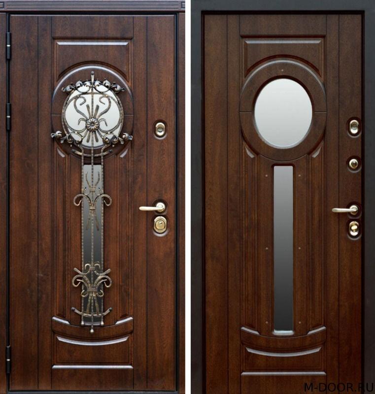 Парадная дверь МДФ 10 мм с ковкой и стеклом