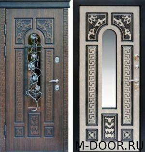 Стальная дверь МДФ(ПВХ) 10 мм с ковкой и стеклом 5