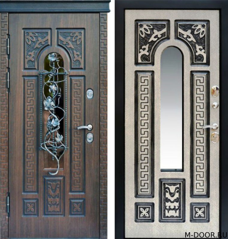 Стальная дверь МДФ(ПВХ) 10 мм с ковкой и стеклом