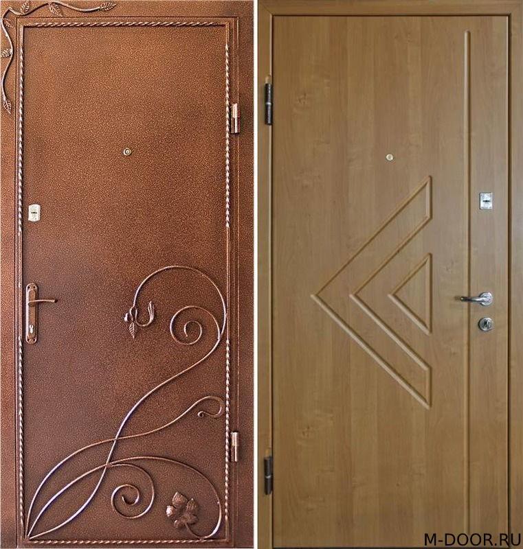 Стальная дверь порошковое напыление с ковкой и МДФ (ПВХ)
