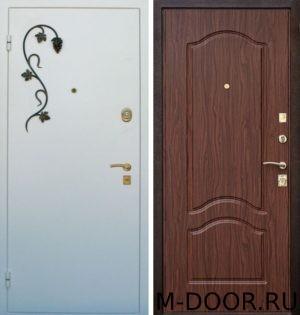 Металлическая дверь порошковое напыление с ковкой и МДФ 2