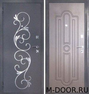 Металлическая дверь порошковое напыление с ковкой и МДФ (ПВХ) 10 мм
