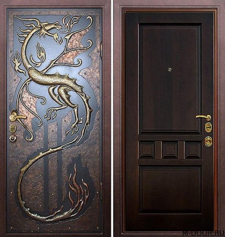 Стальная дверь порошковое напыление с ковкой и МДФ (ПВХ) 10мм