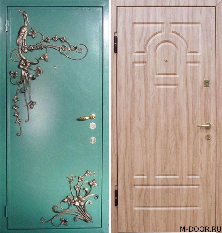 Стальная дверь порошковое напыление с ковкой и МДФ