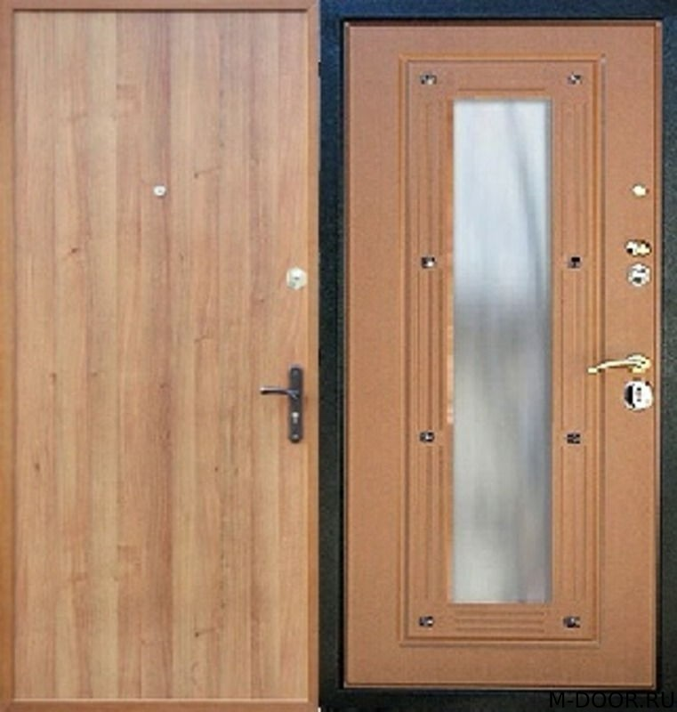 Стальная дверь ламинат и МДФ с зеркалом