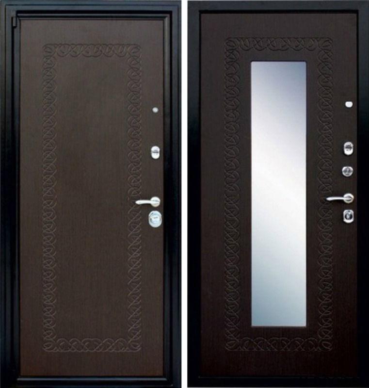Металлическая дверь с отделкой МДФ с зеркалом