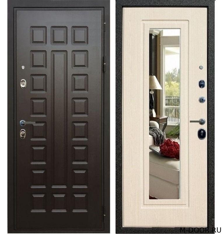 Металлическая трехконтурная дверь МДФ с зеркалом