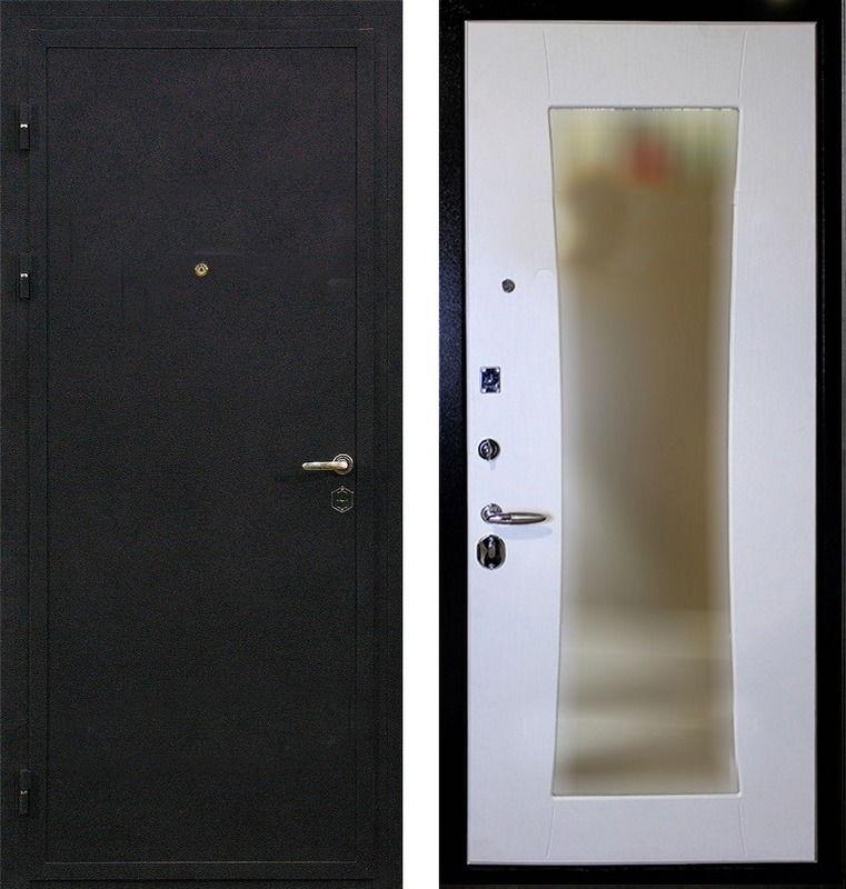 Металлическая дверь в квартиру порошковое напыление и МДФ с зеркалом