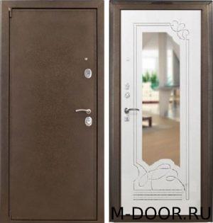 Стальная дверь в квартиру порошковое напыление и МДФ с зеркалом 3