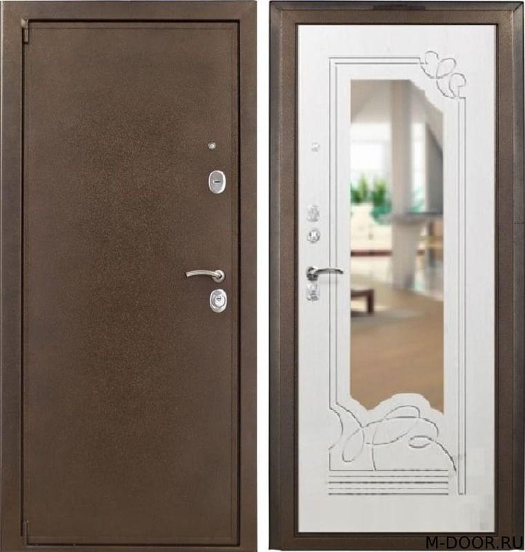 Металлическая дверь с отделкой порошок и МДФ с зеркалом